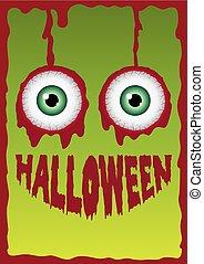 Halloween smile horror with eyeball blood background