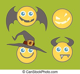 Halloween Smiley Vector Set