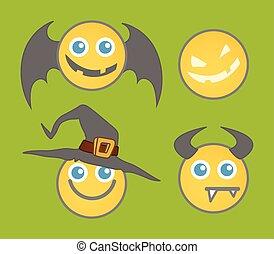 Halloween Smiley Vector Set