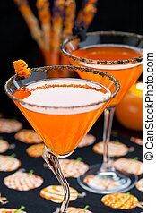 Halloween snack and drinks - Halloween drinks and chocolate...