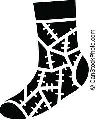 Halloween sock icon, simple style