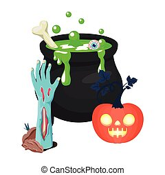 halloween sombie hand and cauldron with pumpkin vector illustration design