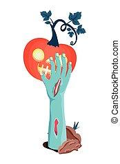 halloween sombie hand lifting pumpkin with dark face vector illustration design