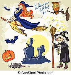 halloween, sorcières, -, 2., main, dessiné, collection.