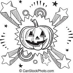 halloween, spänning, pumpa, skiss