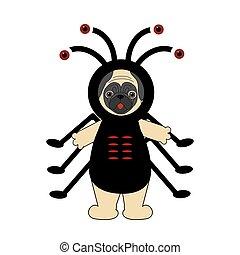 Halloween spider pug illustration