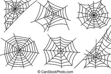 Halloween spider web icons - Halloween spider web isolated...