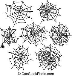 Halloween spider web vector set. Cobweb decoration elements...