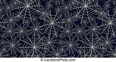 Halloween spiderweb black and white pattern. - Halloween...