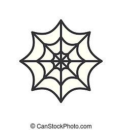 halloween, spiderweb, kreska, ikona, styl