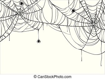 Halloween spiderweb vector background with spiders, copy...