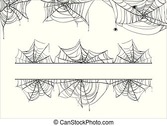 Halloween spiderweb vector border. Cobweb corner frame...