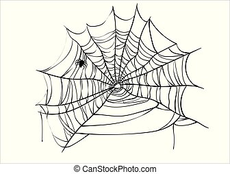 Halloween spiderweb vector with spider isolated on white...
