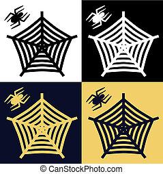 halloween, spin, &, web, vector, set
