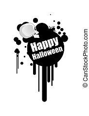 Halloween Splash Banner with Skull