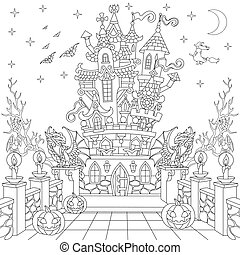 Halloween spooky castle - Coloring page of spooky castle,...