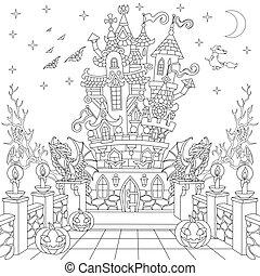 Halloween spooky castle - Coloring page of spooky castle, ...