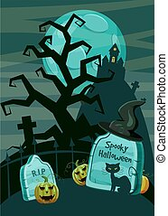 Halloween spooky cemetery concept, cartoon style