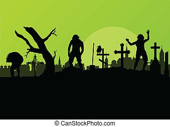 halloween, spooky, cimetière, cimetière, vendange, fond, à,...