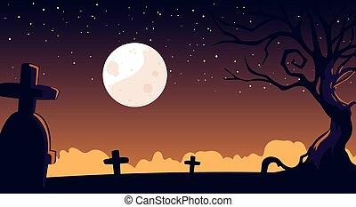 halloween, spooky, fond, cimetière