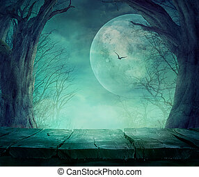 Halloween Spooky Forest - Halloween background. Spooky ...