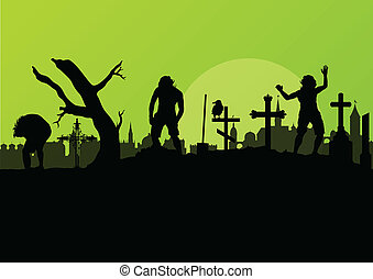 Halloween spooky graveyard, cemetery vintage background with...