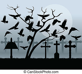 Halloween spooky graveyard, cemetery vintage background with grave crosses and raven