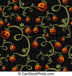 Halloween spooky pumpkins lanterns seamless pattern background. EPS10 vector file organized in layers for easy editing.