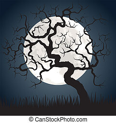 Halloween spooky scary background with full moon and gnarled tree