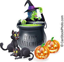 halloween, spotprent, heks, scène