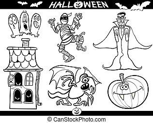 halloween, spotprent, thema's, voor, kleurend boek