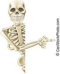 halloween, spotprent, wijzende, skelet