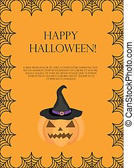 Halloween square frame for text with spider web. Template for your design postcard, invitation, poster. Vector illustration.