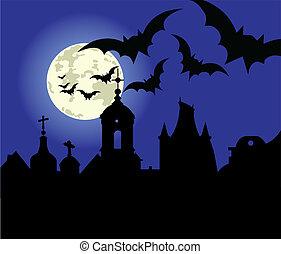 halloween, stad, natt