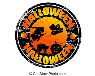 Halloween stamp - Abstract grunge rubber stamp with the word...