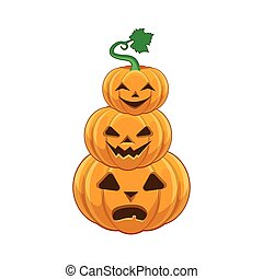 halloween, stapel, pompoen
