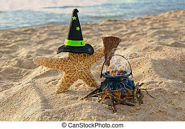 Halloween starfish with witch's hat