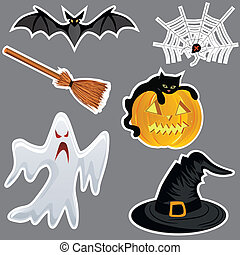 Halloween stickers, pumpkin vector.