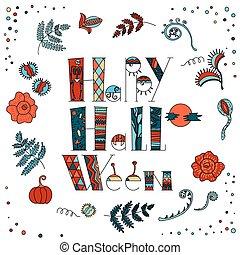 halloween, stil, design, klotter
