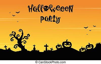 halloween, stil, silhuett, bakgrund, parti