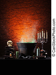 Halloween still-life background with a lot of different ...