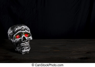 Halloween still-life background with skull. - Halloween...