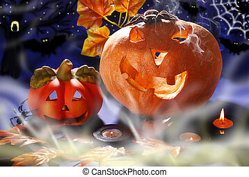halloween still life with pumpkins glowing in the night