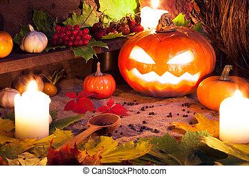 Halloween still life with pumpkins. Studio shot