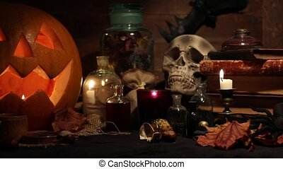 halloween, stilleven, met, pompoennen, en, schedel