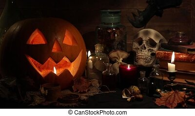 halloween, stilleven, met, pompoennen