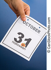 Halloween, calendar October 31 with blue background