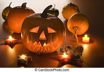 Halloween carved pumpkins indoor close up shoot