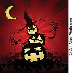 halloween, strach na wróble, rysunek, dynia
