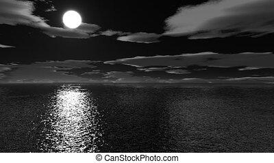 halloween, sur, vol, mer, nuit
